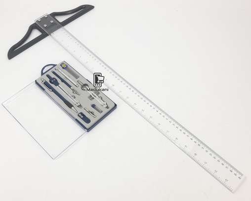 Technical Drawing Set and 60cm 24 inch T Square image 2