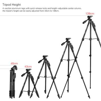 YUNTENG VCT-6808 Multi-functional Tripod for Phone with 3 Phone Holders 4-Section Telescoping Tripod Ball Head Remote Controller image 9