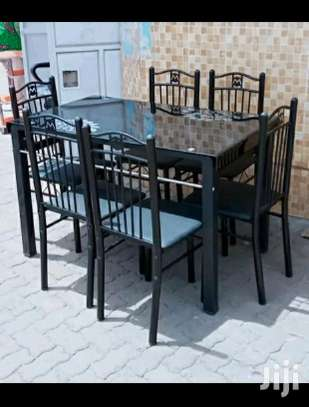 Dining table 6 chairs with stability image 1