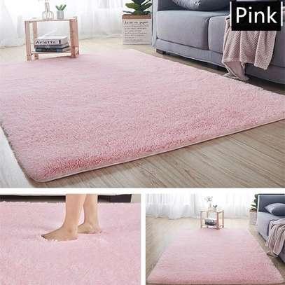 light pink soft fluffy non-skid carpet image 1