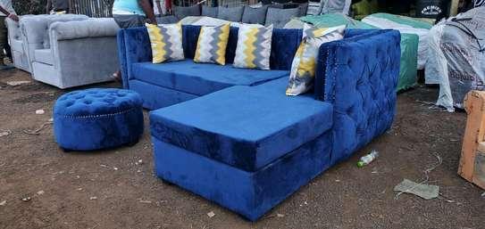 Unique blue corner sofa image 1