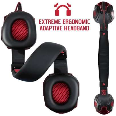 Plextone Gaming Headset for PS4 X Box PC GAMING  Noise Isolation Gaming Headphones  With hd mic and led - Black and red) image 4