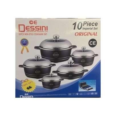 Dessini Non-Stick Cooking Pots - 10 Pieces - Grey image 1