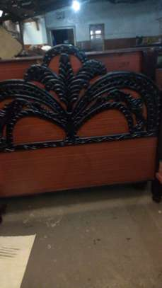 Hardwood engraved and tufted beds image 1
