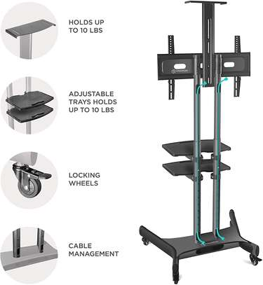 """ONKRON Mobile TV Stand TV Cart with Wheels & 2 AV Shelves for 32"""" – 65 inch LCD LED OLED Flat Panel Plasma Screens up to 100 lbs Black TS1552 image 5"""
