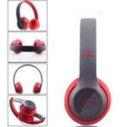 P47 Bluetooth Headphone Wireless Support TF Card - Red image 1