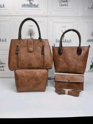 Brown designer leather handbags image 1