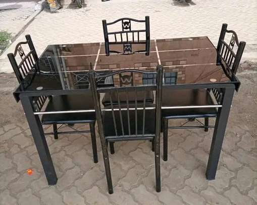 Four (4) chairs dining table set image 1