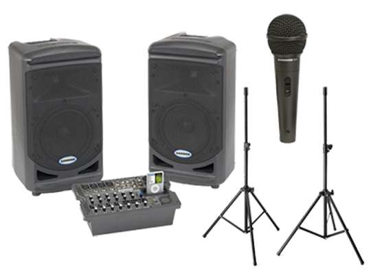 Conference PA System with Speaker Stand Kit, Mixer and Microphone for Hire