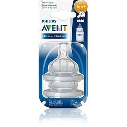 Philips Avent Teats Classic+ Fast Flow (4 Holes) 6 months+