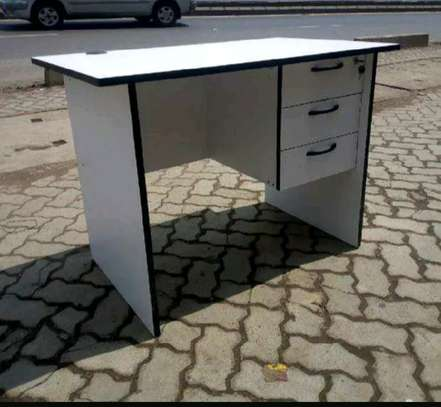 White office table with drawers image 1