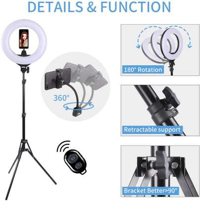 Neewer 14-inch LED Ring Light with Stand and 2.4G Wireless Remote, 30W 3200K-5500K Makeup Ringlight with Soft Tube/Phone Holder/Ball Head for Vlogging Selfie Video Shooting, Support USB Charge image 1