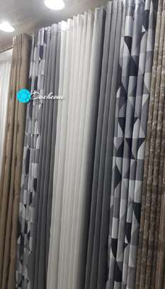 grey custom-made double sided curtains image 1