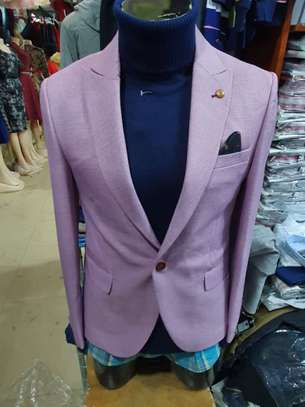 Slim Fit Single One Button Blazer Jackets for Men image 2