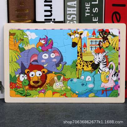 4PCS/3D Wooden Jigsaw Puzzles for Children Kids Toys Cartoon Animal/Traffic Puzzles Baby Educational Puzles image 6
