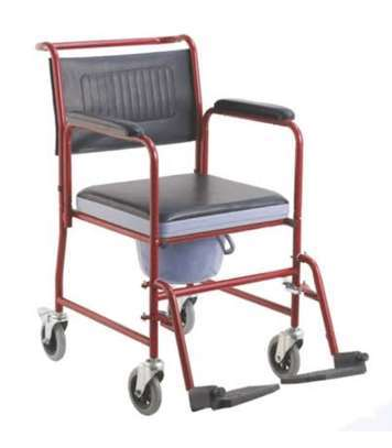 Commode seat with wheels fixed armrest image 2