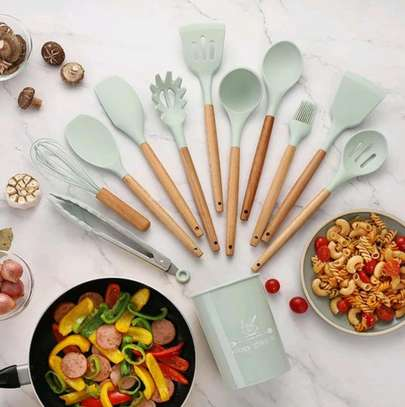 12pc Silicon cooking tools/Nonstick serving spoons/Cooking spoons image 2