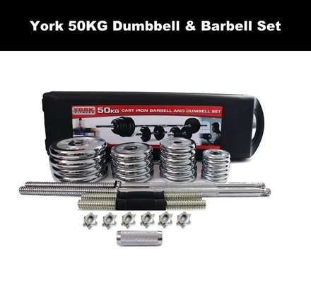 York Fitness 50kg Barbell and Dumbbells set weight lifting gym image 2