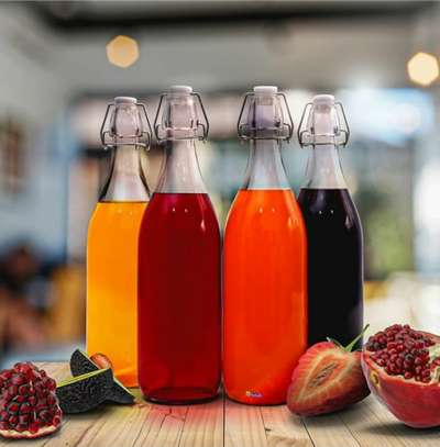 1pc Beverage Glass Bottle with Clip Lock Lid-  1180ml image 1