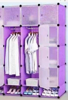 3 Column Plastic Wardrobe - Purple image 1