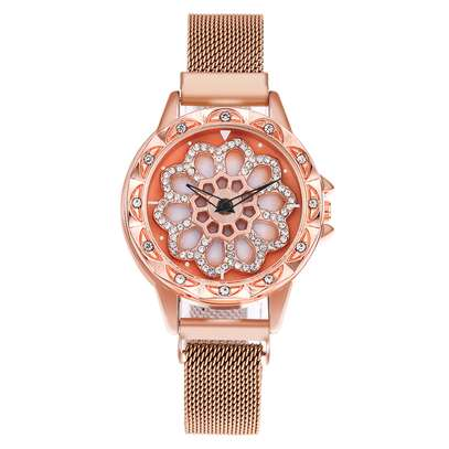Women Quartz Luxury Wrist Watch Diamond Magnet Mesh Stainless Women Watches