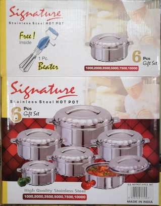 6pcs Signature Staainless Steel Hot Pots + 1pc FREE Beater image 1