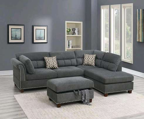 Grey L shaped sofas for sale in Nairobi Kenya/five seater L seat/puff image 1