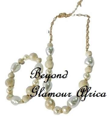 White Handmade  Bead Stretchable Bracelet Multi Strand Necklace Jewelry Set Women Gifts image 1