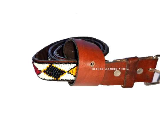 Beaded Brown Leather Belt