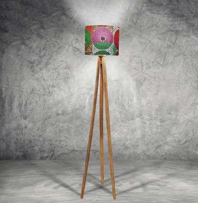 Wood Tripod Floor Lampshade image 1
