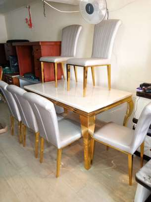 6 Seater Pure Marble Dining Set image 1