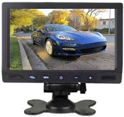 7-inch Car Rear View LCD Monitor supporting High Resolution 800 x 480 Pixels with Stand, Remote, Rotating Screen and 2 AV Inputs. image 1