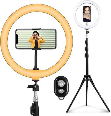 Live Streaming Desktop Dimmable 10 Inch LED Ring Light with 19cm Tripod Phone Holder image 1