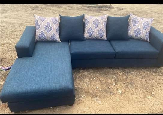 Blue white l-shaped  5 seater   sofa image 1