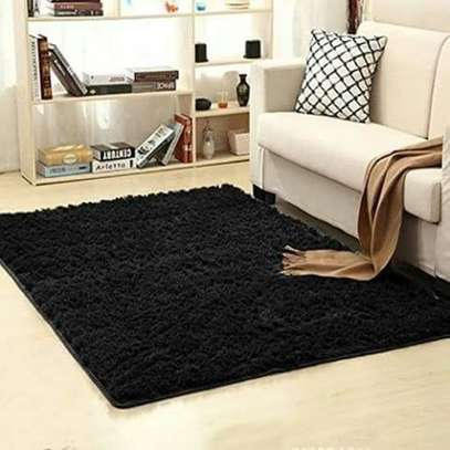 Fluffy Smooth Carpet For Living Room - Black image 1