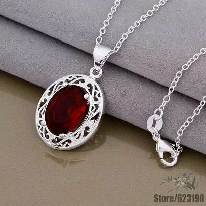 Elegant necklace with red pendant for everyday wear/ bridal