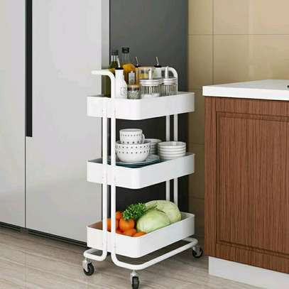 3-tier  Movable Trolley, Metallic image 1