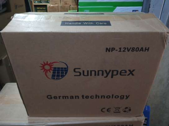 Np-12V 80AH SUNNEYPEX BATTERY,DEEP CYCLE GEL BATTERY(ORIGINAL SOLAR BATTERY) image 1