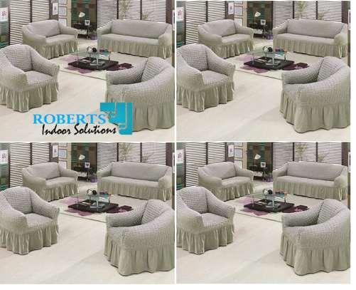 Light grey 7 sitter elastic sofa cover image 1