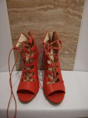 Red Lace with laces high heels. Size 37 image 1