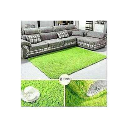 Fluffy living room carpet(5*8) colors brown,blue and green image 2
