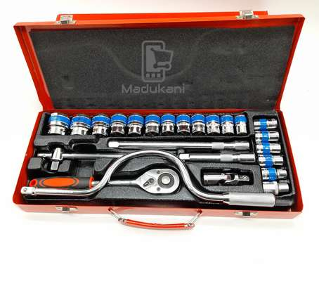 24PCS half-inch DR Socket Wrench Set with Extra L Handle and 16mm Plug Spanner image 6