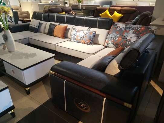 Fabric & leather corner sofa image 1
