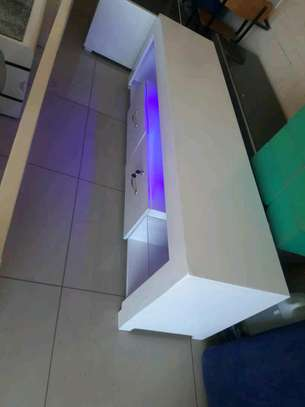 White TV Stand With LED lights image 3