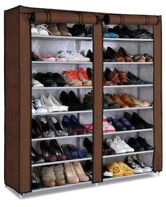 brown double 7 tier shoe rack image 1