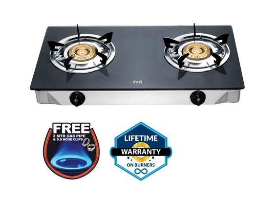 Mika Gas Stove, Table Top, Glass Top, Double Burner, With FREE 2 Metre Gas Pipe & 2 Stainless Steel Hose Clips image 1