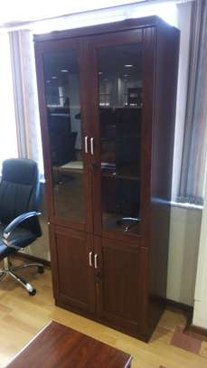 Doubled Door Wooden filing cabinet with Glass image 1