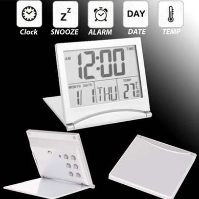 Mini Folding LCD Digital Alarm Clock Desk Table Weather Station Desk Temperature Portable Travel Alarm Clock image 2