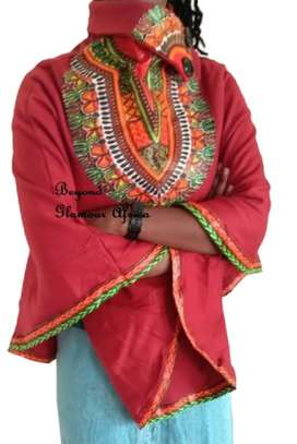 Dashiki Print Maroon Poncho Super Soft Cotton image 2