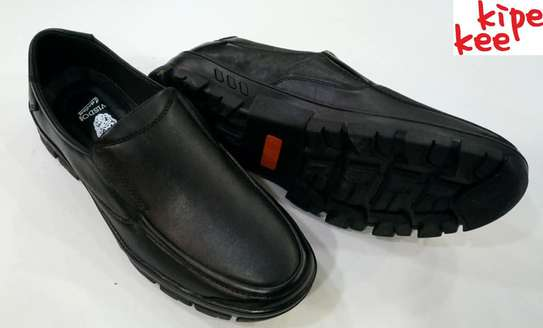 VISDO Black Leather School Shoes